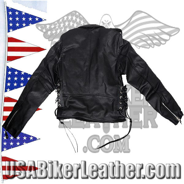 Teens Leather Motorcycle Biker Jacket with Side Laces / SKU USA-KD344-TEEN-DL - USA Biker Leather - 2
