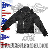 Teens Leather Motorcycle Biker Jacket with Side Laces / SKU USA-KD344-TEEN-DL - USA Biker Leather - 1