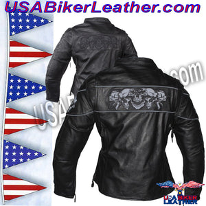 Ladies Leather Motorcycle Jacket with Night Reflective Skulls / SKU USA-LJ7025-DL - USA Biker Leather - 2