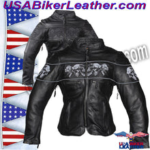 Ladies Leather Motorcycle Jacket with Night Reflective Skulls / SKU USA-LJ7025-DL - USA Biker Leather - 4