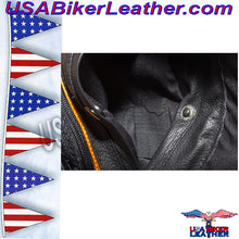 Ladies Leather Motorcycle Jacket with Night Reflective Skulls / SKU USA-LJ7025-DL - USA Biker Leather - 5