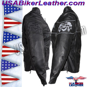 Ladies Leather Motorcycle Jacket with Night Reflective Skulls / SKU USA-LJ7025-DL - USA Biker Leather - 3