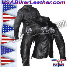 Ladies Leather Motorcycle Jacket with Night Reflective Skulls / SKU USA-LJ7025-DL - USA Biker Leather - 1