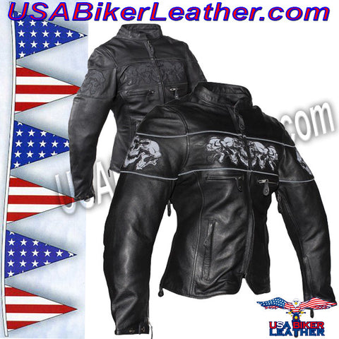 Ladies Leather Motorcycle Jacket with Night Reflective Skulls / SKU USA-LJ7025-DL