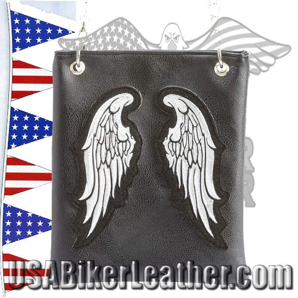 Diamond Plate Ladies Rock Design Genuine Leather Angel Wing Vest / SKU USA-GFVLAW-BF - USA Biker Leather - 2