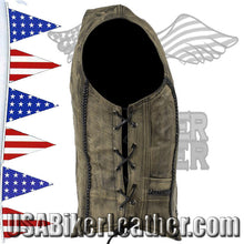 Ladies Longer Classic Distressed Brown Leather Vest with Side Laces / SKU USA-LV221-14-LONG-DL - USA Biker Leather