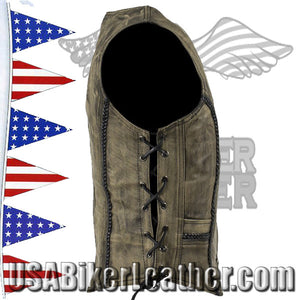 Ladies Longer Classic Distressed Brown Leather Vest with Side Laces / SKU USA-LV221-14-LONG-DL - USA Biker Leather - 2