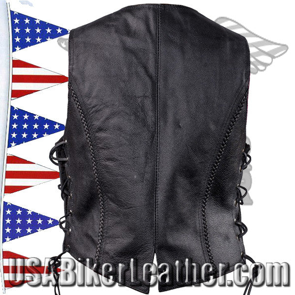 Ladies Longer Length Classic Style Vest with Braid and Side Laces / SKU USA-LV221-LONG-DL - USA Biker Leather - 2