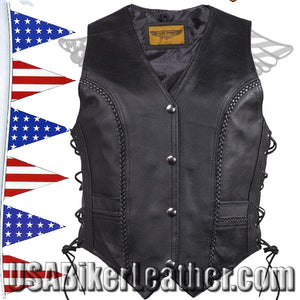 Ladies Longer Length Classic Style Vest with Braid and Side Laces / SKU USA-LV221-LONG-DL - USA Biker Leather