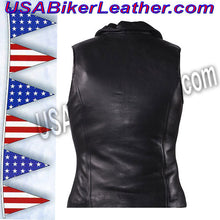 Classic Style Ladies Leather Vest with Zipper Front Closure / SKU USA-LV444-DL - USA Biker Leather - 2