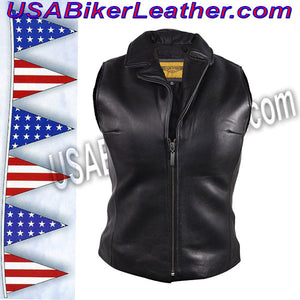 Classic Style Ladies Leather Vest with Zipper Front Closure / SKU USA-LV444-DL - USA Biker Leather - 3