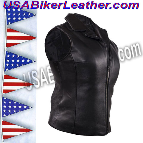 Classic Style Ladies Leather Vest with Zipper Front Closure / SKU USA-LV444-DL