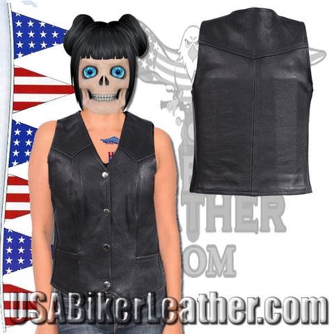 Ladies Plain Leather Vest with Pleated Front and Back / SKU USA-LV8502-DL