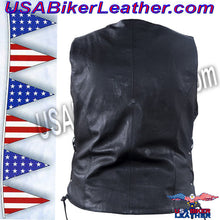 Ladies Leather Motorcycle Vest with Satin Nickel Studs / SKU USA-LV8510-DL - USA Biker Leather - 6