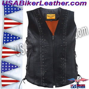 Ladies Leather Motorcycle Vest with Satin Nickel Studs / SKU USA-LV8510-DL - USA Biker Leather - 2