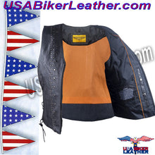 Ladies Leather Motorcycle Vest with Satin Nickel Studs / SKU USA-LV8510-DL - USA Biker Leather - 5