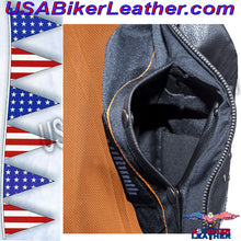 Ladies Leather Motorcycle Vest with Satin Nickel Studs / SKU USA-LV8510-DL - USA Biker Leather - 4