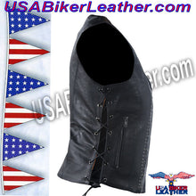 Ladies Leather Motorcycle Vest with Satin Nickel Studs / SKU USA-LV8510-DL - USA Biker Leather - 3