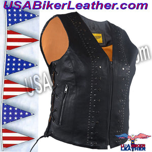 Ladies Leather Motorcycle Vest with Satin Nickel Studs / SKU USA-LV8510-DL - USA Biker Leather