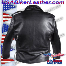 Classic Style Motorcycle Jacket with Side Laces and Vents / SKU USA-MJ201-DL - USA Biker Leather - 5