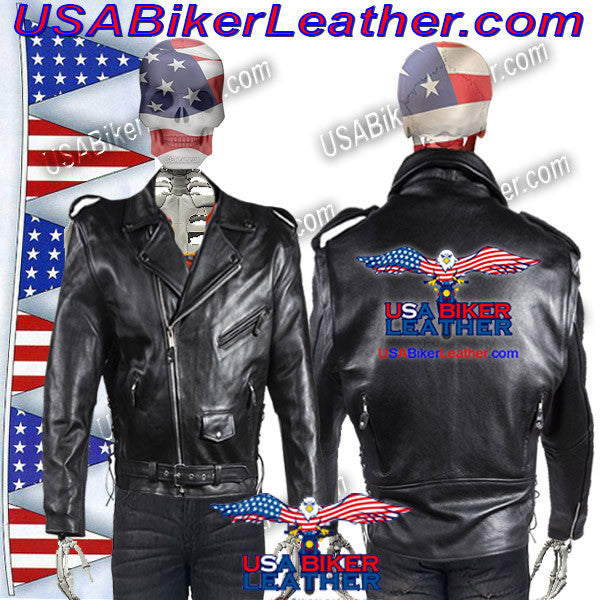 Classic Style Motorcycle Jacket with Side Laces and Vents / SKU USA-MJ201-DL - USA Biker Leather - 1