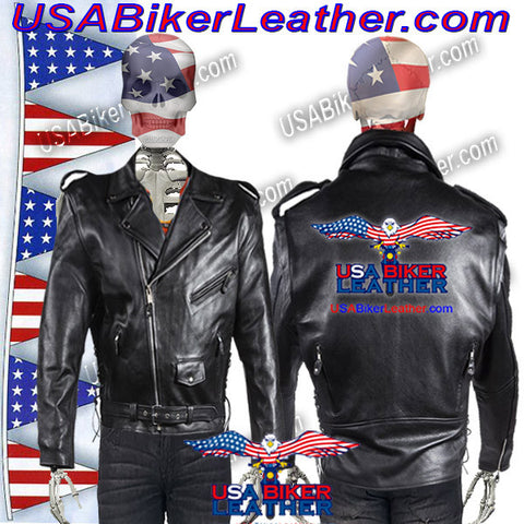 Classic Style Motorcycle Jacket with Side Laces and Vents / SKU USA-MJ201-DL
