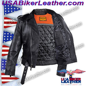 Classic Style Motorcycle Jacket with Side Laces and Vents / SKU USA-MJ201-DL - USA Biker Leather - 2