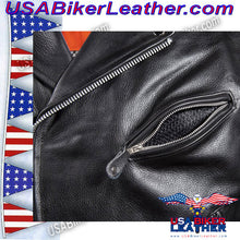 Classic Style Motorcycle Jacket with Side Laces and Vents / SKU USA-MJ201-DL - USA Biker Leather