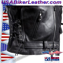 Classic Style Motorcycle Jacket with Side Laces and Vents / SKU USA-MJ201-DL - USA Biker Leather - 3