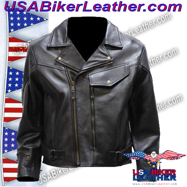 Mens Braided Pistol Pete Leather Jacket / SKU USA-MJ708-DL - USA Biker Leather - 2