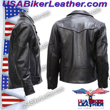 Mens Braided Pistol Pete Leather Jacket / SKU USA-MJ708-DL - USA Biker Leather - 3