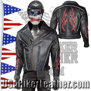 Mens Leather Motorcycle Jacket with Red Flames and Reflective Piping / SKU USA-MJ781-DL - USA Biker Leather - 1