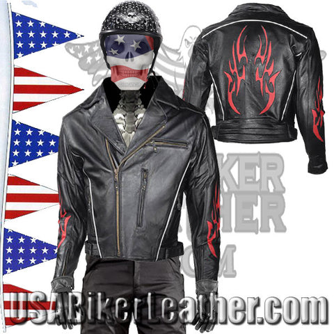Mens Leather Motorcycle Jacket with Red Flames and Reflective Piping / SKU USA-MJ781-DL