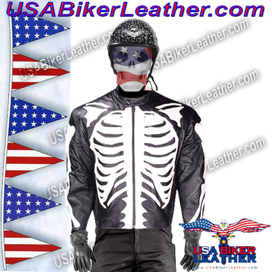 Mens Leather Skeleton Motorcycle Racing Jacket / SKU USA-MJ801-09-DL - USA Biker Leather - 1