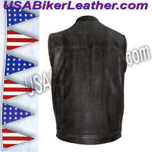 Mens SOA Style Motorcycle Club Vest in Distressed Brown / SKU USA-MV320-ZIP-BROWN-DL - USA Biker Leather