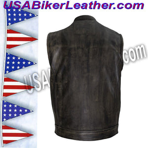 Mens SOA Style Motorcycle Club Vest in Distressed Brown / SKU USA-MV320-ZIP-BROWN-DL - USA Biker Leather - 2