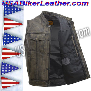 Mens SOA Style Motorcycle Club Vest in Distressed Brown / SKU USA-MV320-ZIP-BROWN-DL - USA Biker Leather - 4
