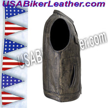Mens SOA Style Motorcycle Club Vest in Distressed Brown / SKU USA-MV320-ZIP-BROWN-DL - USA Biker Leather - 3