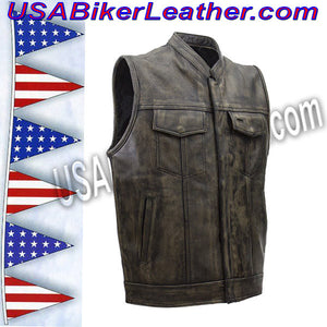 Mens SOA Style Motorcycle Club Vest in Distressed Brown / SKU USA-MV320-ZIP-BROWN-DL - USA Biker Leather - 1