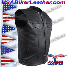 Mens Leather Motorcycle Club Vest with Short Collar / SKU USA-MV8007-DL - USA Biker Leather - 5