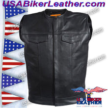 Mens Leather Motorcycle Club Vest with Short Collar / SKU USA-MV8007-DL - USA Biker Leather - 4