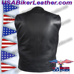 Mens Leather Motorcycle Club Vest with Short Collar / SKU USA-MV8007-DL - USA Biker Leather - 2