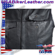 Mens Leather Motorcycle Club Vest with Short Collar / SKU USA-MV8007-DL - USA Biker Leather - 3