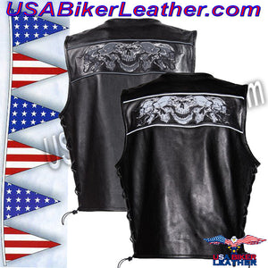Mens Leather Vest with Night Reflective Skulls and Concealed Carry Pockets / SKU USA-MV8025-DL - USA Biker Leather - 2