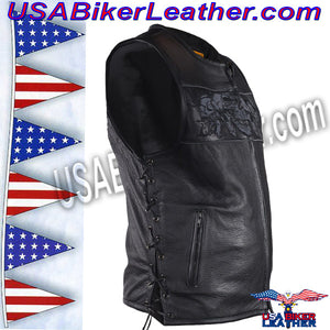 Mens Leather Vest with Night Reflective Skulls and Concealed Carry Pockets / SKU USA-MV8025-DL - USA Biker Leather