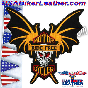 Skull Wings Ride Free Motorcycles Patch / SKU USA-PAT-A38-DL - USA Biker Leather