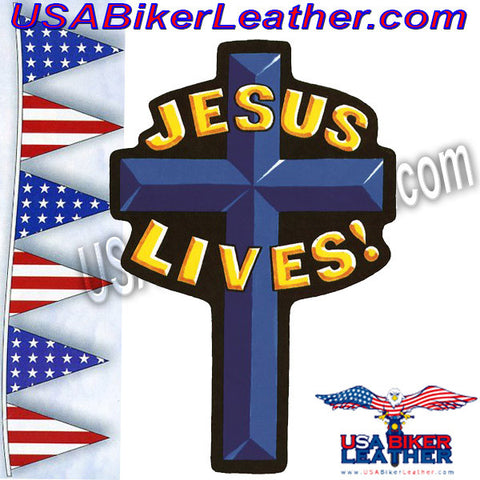 Jesus Lives Cross Christian Biker Patch / SKU USA-PAT-A42-DL