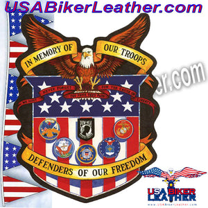 In Memory of Our Troops Patch / SKU USA-PAT-A43-DL - USA Biker Leather