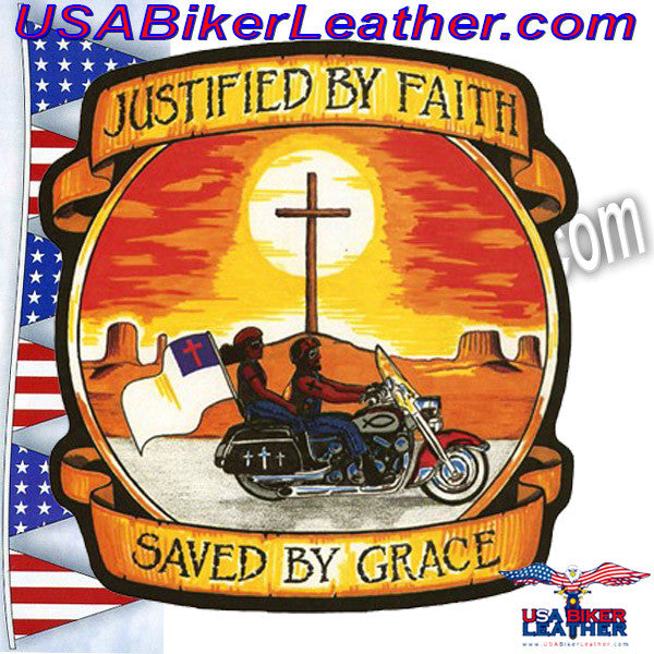 Justified by Faith / Saved by Grace Vest Patch / SKU USA-PAT-A44-DL - USA Biker Leather