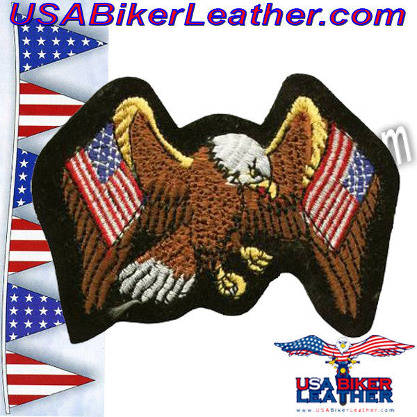 Eagle with Two American Flags Patch / SKU USA-PAT-A5-DL - USA Biker Leather